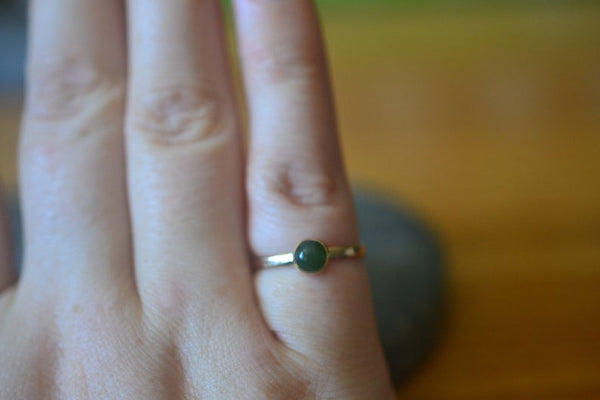 Simple Green Jade Stack Ring in 14ct Solid Yellow Gold