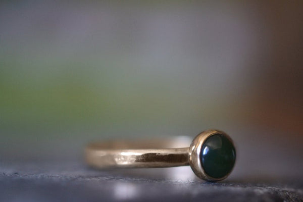 Round Green Jade Cabochon Stacking Ring in Yellow Gold 14K