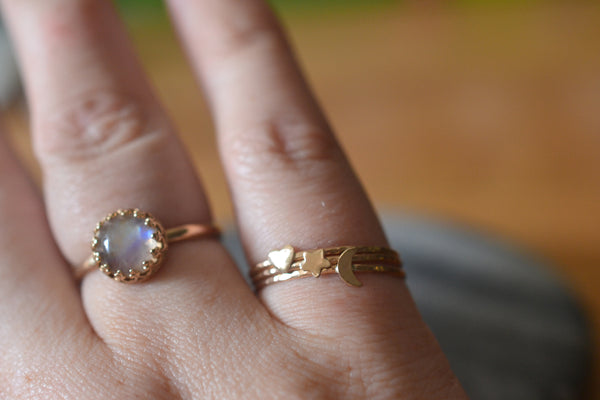 Dainty Star Moon & Heart Stacking Ring Set in 14K Yellow Gold