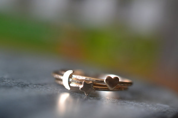 Dainty 14K Gold Moon Heart & Star Stacking Ring Set