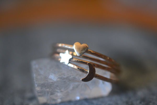 14K Gold Moon Heart & Star Rings, Ultra Thin Bands, Solid Yellow Gold Stacking Set