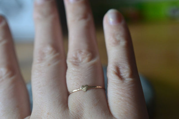 Minimalist 14K Gold Heart Stacking Ring For Women