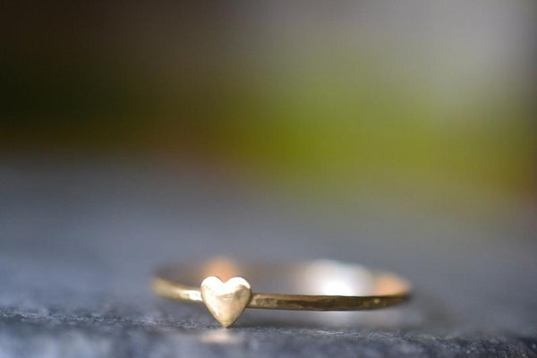 Dainty Little 14ct Yellow Gold Heart Stacking Band
