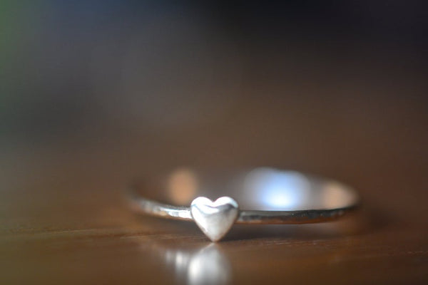 Ultra Thin 14K Gold Band with Heart Charm
