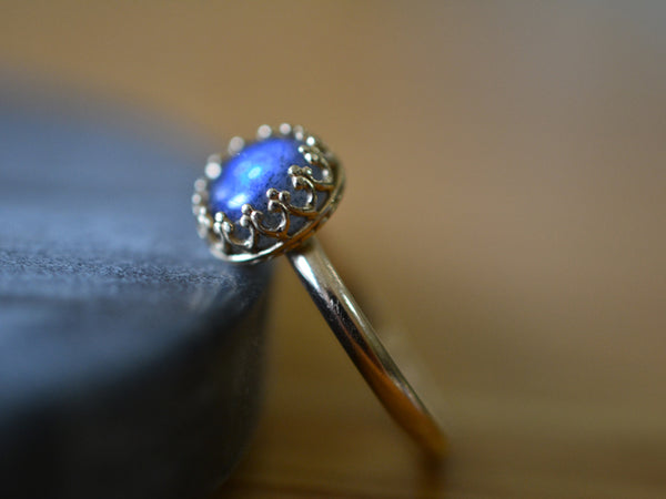 Handmade 14K Yellow Gold & Labradorite Engagement Ring