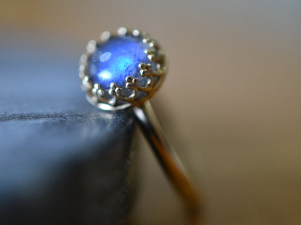 Labradorite Engagement Ring in 14ct Yellow Gold