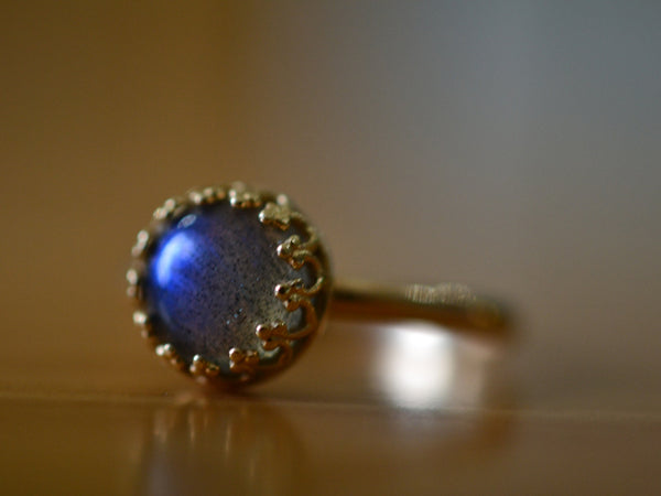 Natural Labradorite Engagement Ring in 14K Yellow Gold