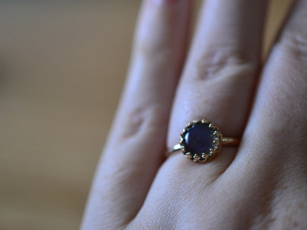 Ethical 14K Gold & Blue Fire Labradorite Engagement Ring