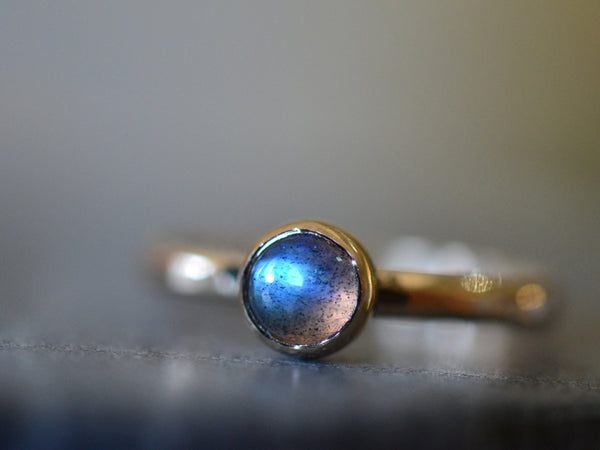 Simple Recycled 14K Gold & 5mm Labradorite Promise Ring