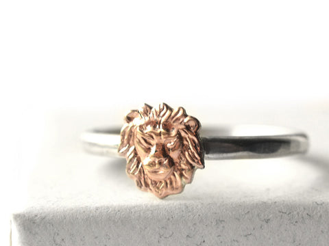 Sterling Silver & 14K Gold Lion Charm Ring