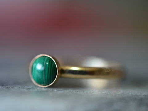 14K Yellow Gold 5mm Malachite Cabochon Stacking Ring