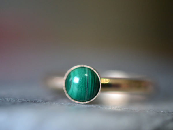 Simple 5mm Round Malachite Ring in 14K Yellow Gold