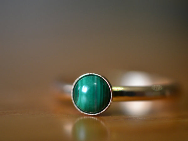 Green Malachite Gemstone Ring in 14K Yellow Gold With Engraving