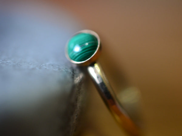 Banded Green Malachite Stone Ring in 14K Gold With Engraving