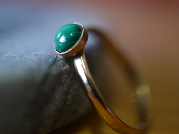 5mm Natural Malachite Stack Ring With 14K Gold Bezel & Band