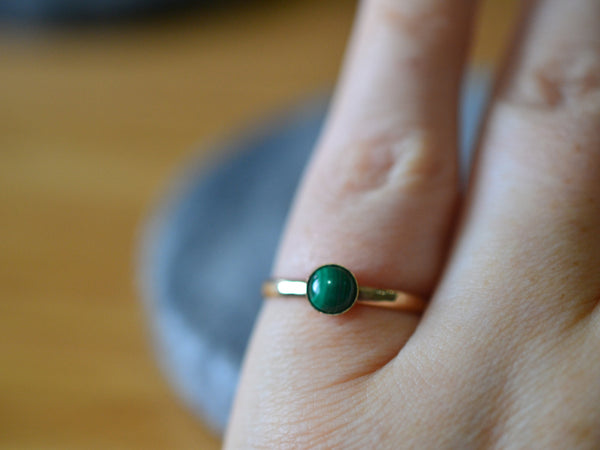 Simple Natural Malachite Gemstone Ring With 14K Gold Bezel & Band