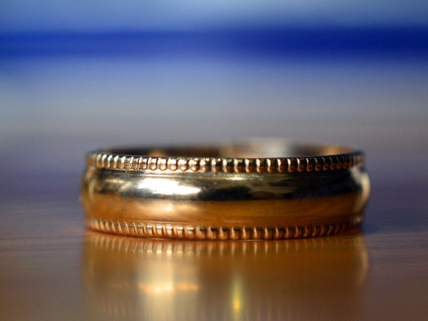 Handmade Solid 14K Yellow Gold Wedding Band