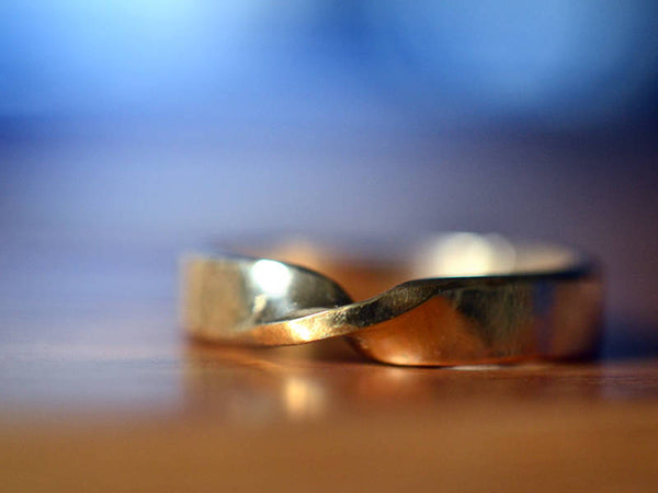 Recycled 14K Yellow Gold Mobius Wedding Band with Engraving