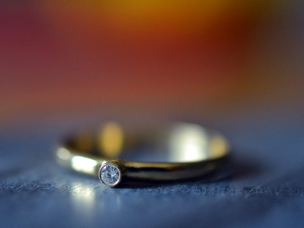 Women's 2mm Moissanite Engagement Ring in 14K Yellow Gold