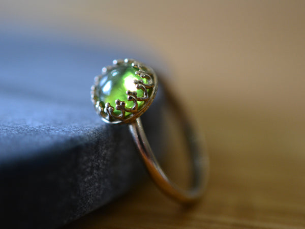 Personalised Peridot Engagement Ring in 14K Yellow Gold