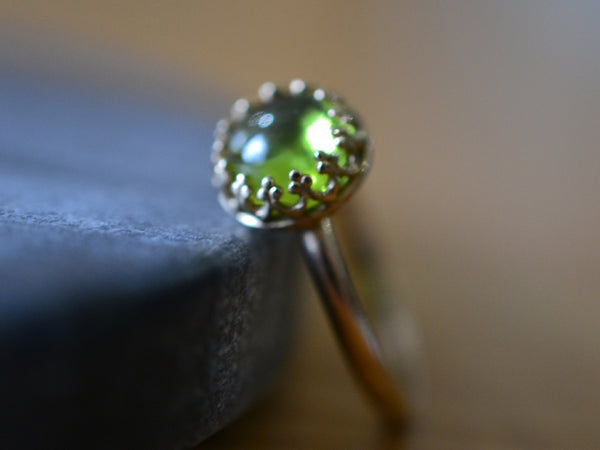 Natural Peridot Engagement Ring in 14K Yellow Gold