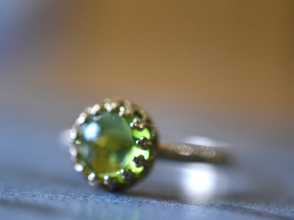 Handmade 14K Yellow Gold & 8mm Peridot Engagement Ring