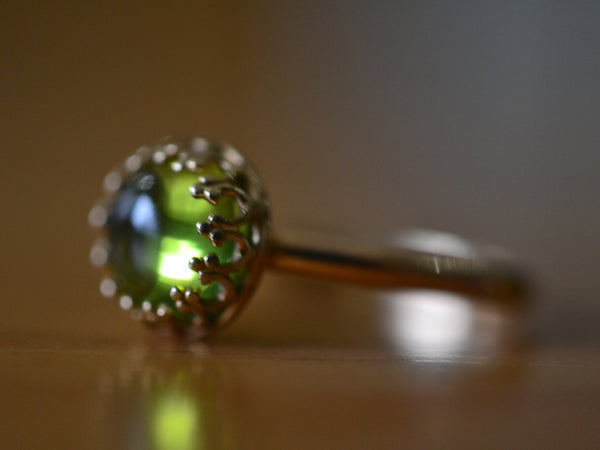 Custom Engraved 14K Gold Ring with 8mm Peridot