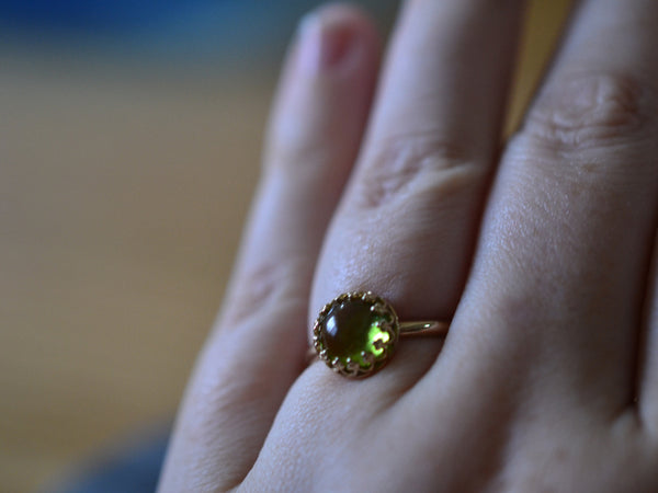 Customised 14K Yellow Gold Crown Set Peridot Engagement Ring