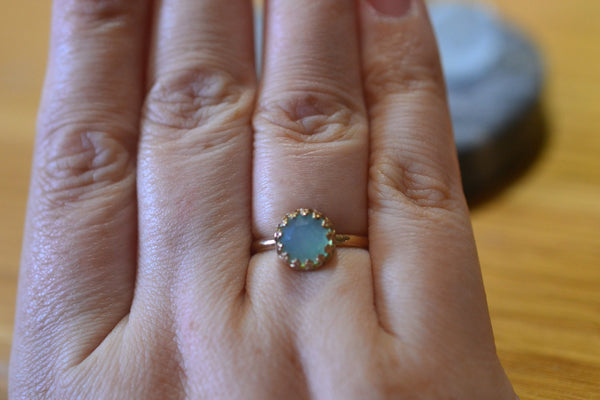 Peru Blue Opal Engagement Ring in Simple 14ct Yellow Gold