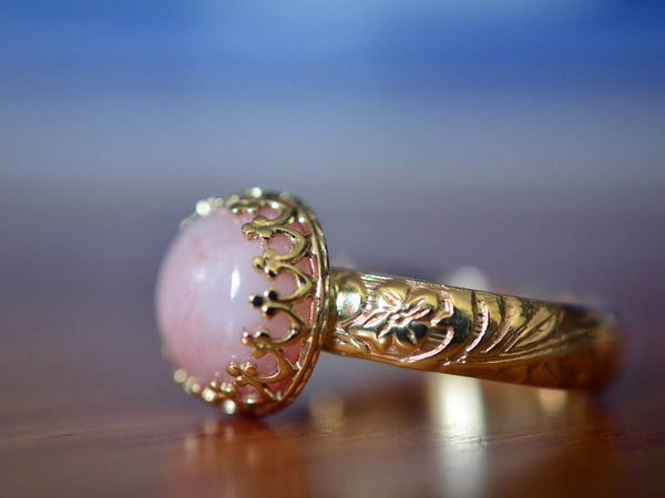 Art Nouveau Style 14K Gold Pink Opal Engagement Ring