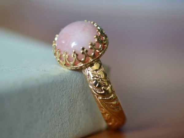 Women's Pink Opal Engagement Ring in 14ct Yellow Gold