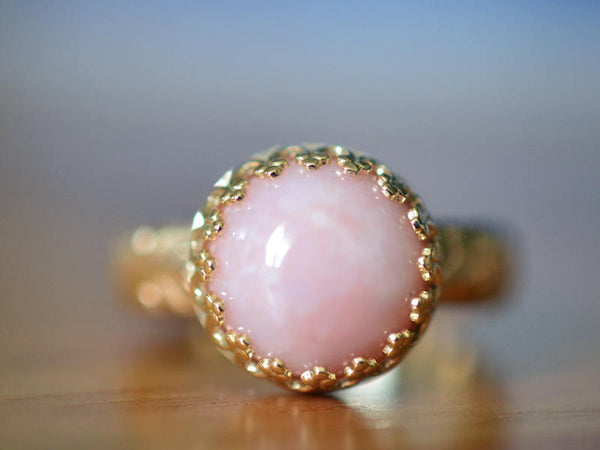 Natural Pink Opal Gemstone Ring in 14K Yellow Gold