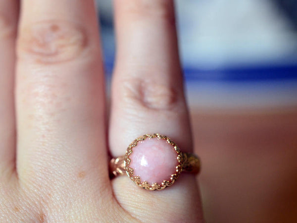 Floral 14ct Yellow Gold Engagement Ring with Pink Opal