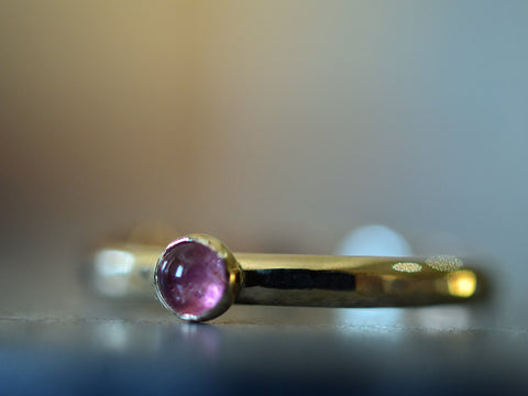 Simple 14K Gold 3mm Pink Tourmaline Promise Ring