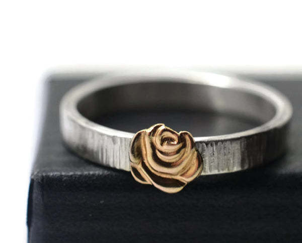 Handmade Silver Tree Bark & 14K Gold Flower Ring