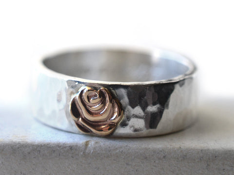 Sterling Silver & 14K Yellow Gold Rose Band