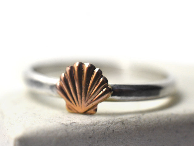 Dainty 14K Gold Shell & Sterling Silver Ring