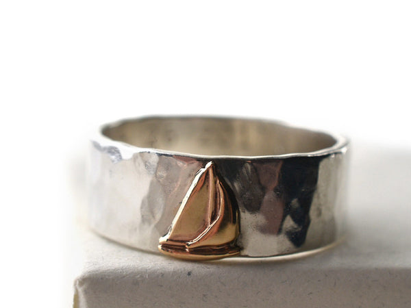 Sterling Silver Wedding Band with 14K Gold Ship Charm