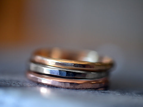 Rose Gold White Gold Yellow Gold Stacking Ring Set Of Three