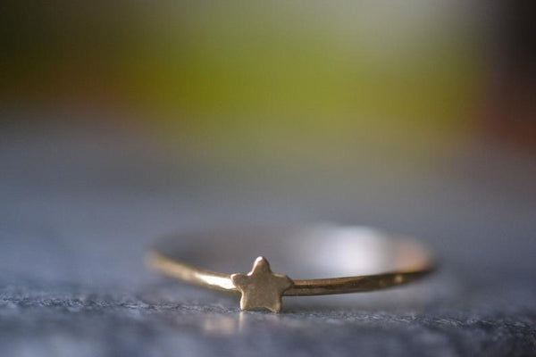 Minimalist Tiny Star Stacking Ring in 14K Yellow Gold