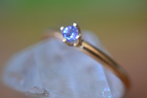 Dainty 3mm Tanzanite Engagement Ring in 14K Yellow Gold