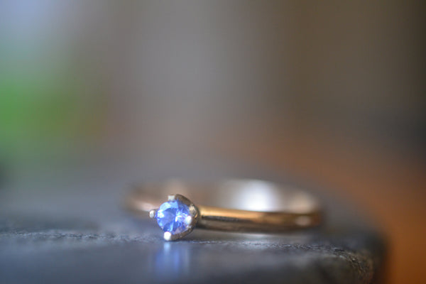 Natural 3mm Tanzanite Crystal Engagement Ring in 14k Gold