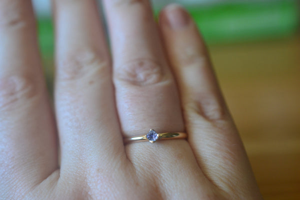 Dainty Little Tanzanite Solitaire Ring in 14K Yellow Gold