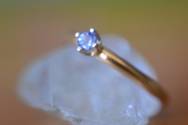 Tanzanite Engagement Ring in 14K Gold, 3mm Crystal, Personalised Jewellery