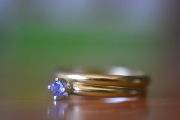Minimalist 3mm Tanzanite Bridal Set in 14K Yellow Gold