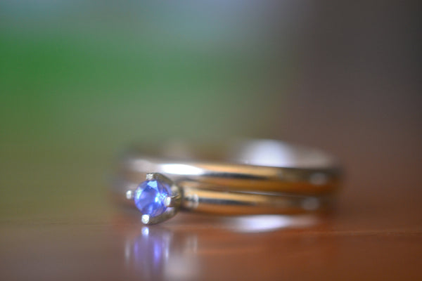 14K Yellow Gold Wedding Band & Tanzanite Engagement Ring Set