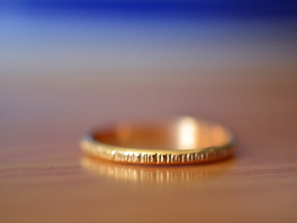 Dainty 2mm Wide Hammered 14K Gold Tree Bark Wedding Ring