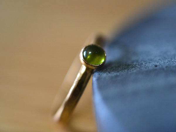 Personalised Green Vesuvianite Gemstone Ring in 14K Gold