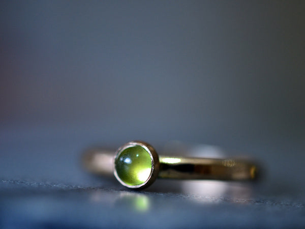 Natural Forest Green Vesuvianite Ring in 14ct Yellow Gold
