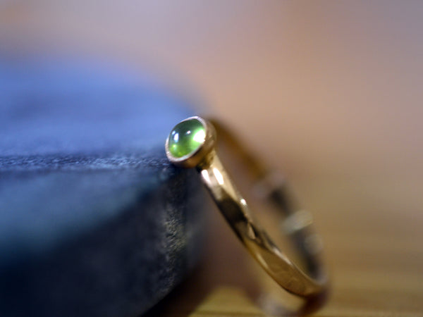 Hammered 14K Yellow Gold Ring with 4mm Vesuvianite